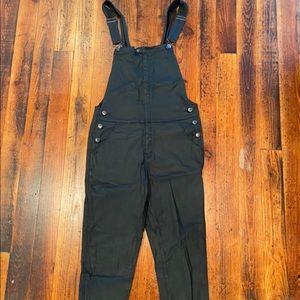 Current Elliott Black Waxed Denim overalls